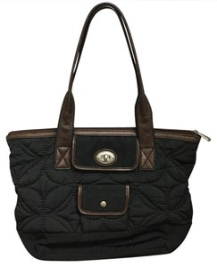 Fossil Trim Tote in Quilted black nylon with brown leather trim/straps