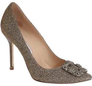 Manolo Blahnik Jewel Embellishment Elegant Satin Padded Made In Italy Point Toe Bronze Fabric Pumps