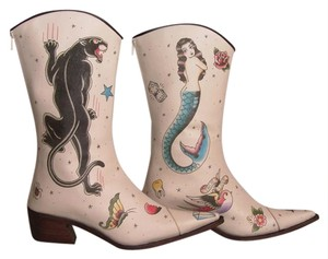 Helena Angelique Vintage Monogram Stack Louie Heel All Leather Toe cream hand painted embellished Boots