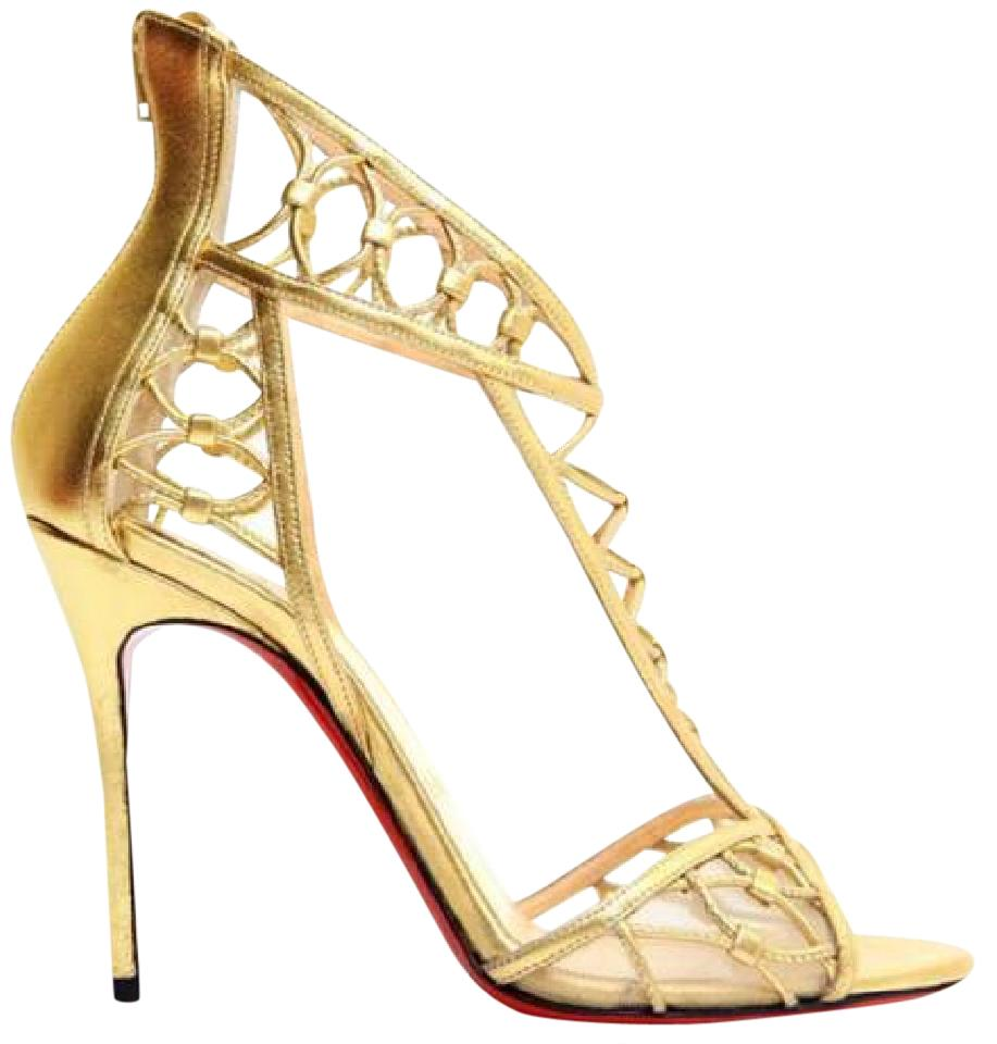 15f6bc06a26 Christian Louboutin Gold Martha Metallic Leather Cutout Heels Pumps Sandals  Size EU 38.5 (Approx. US 8.5) Regular (M, B) 42% off retail