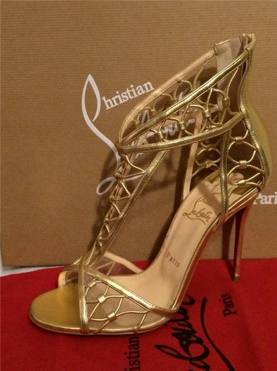 Christian Louboutin Metallic Martha Cutout Gold Sandals