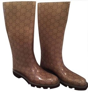 Gucci Gg Signature Wellies Transparent/Cocoa Boots