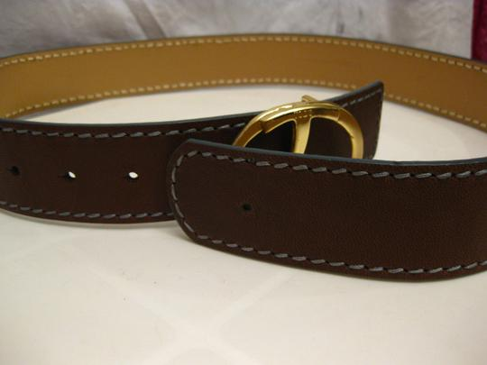 Tod's TODS BRASS LOGO BUCKLE, LEATHER BELT