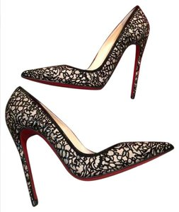 Christian Louboutin Heels Stiletto Glitter So Pretty Laser Cut Black Pumps