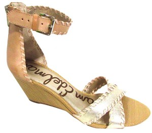 Sam Edelman Ankle Strap Leather Metallic Wedge Light Gold/Natural Sandals