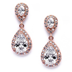 Mariell Luxe Rose Gold Crystal Pave Framed Teardrop Bridal Earrings