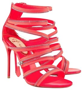 Christian Louboutin Strappy Unzip Booty Zip 20th Anniversary Pink Coral Sandals