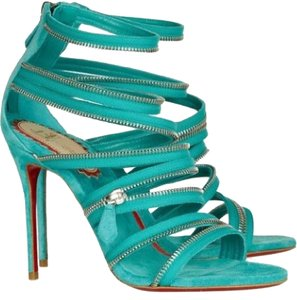 Christian Louboutin Strappy Unzip Booty Zip 20th Anniversary Turquoise Sandals