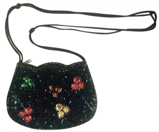 Vintage Purse with Colored Flowers Black Red Green Yellow Brown Sequin Cross Body Bag Vintage Purse with Colored Flowers Black Red Green Yellow Brown Sequin Cross Body Bag Image 1
