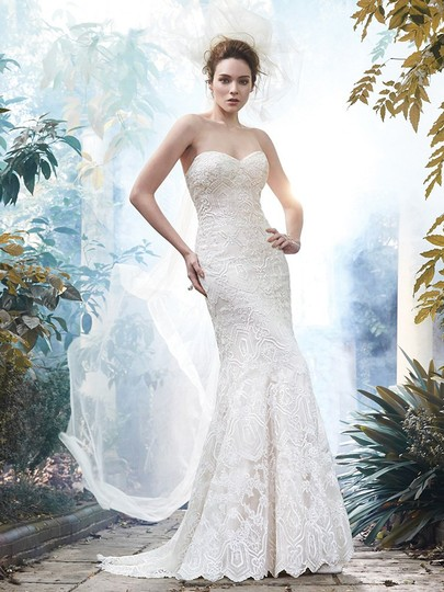 Maggie Sottero Ivory/ L. Gold Lace Tulle Fredricka Modern Wedding Dress Size 10 (M)