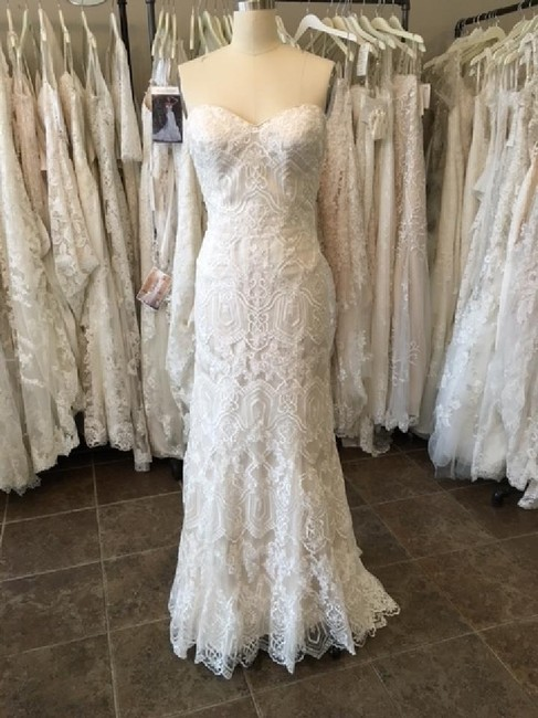 Maggie Sottero Ivory/ L. Gold Lace Tulle Fredricka Modern Wedding Dress Size 14 (L) Maggie Sottero Ivory/ L. Gold Lace Tulle Fredricka Modern Wedding Dress Size 14 (L) Image 1