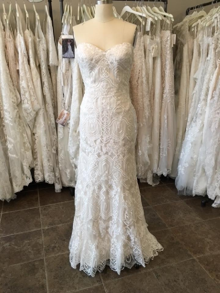 Maggie Sottero Ivory L Gold Lace Tulle Fredricka Modern Wedding