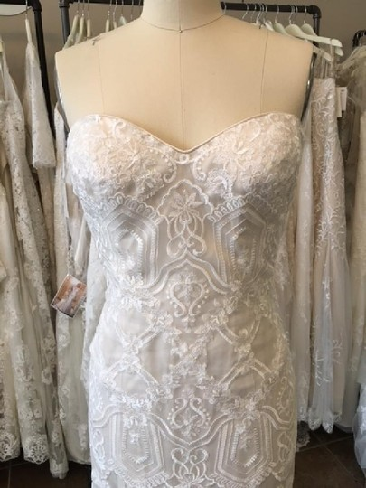 Maggie Sottero Ivory/ L. Gold Lace Tulle Fredricka Modern Wedding Dress Size 2 (XS)