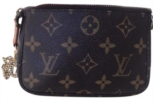 Louis Vuitton Monogram Leather Pochette Small Wristlet in Brown