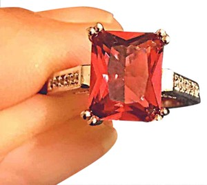 Other Stamped 10KT WGP red Gemstone ring new without tags