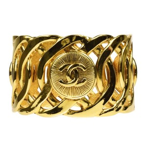 Chanel Vintage Gold Plated CC Wide Bangle