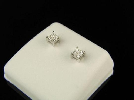 Other Mens/Ladies Princess Cut Genuine Diamond Stud Earrings
