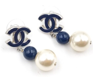 Chanel Silver and Navy CC Pearl Drop Earrings