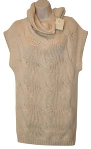 Brunello Cucinelli Tunic Cashmere Soft Cream Knit Sleeveless Cowlneck Couture Sweater