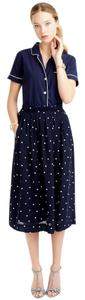 J.Crew Polka Dot Pleated Skirt Navy Blue