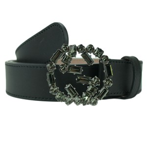 Gucci GUCCI 354381 Black Leather Belt with Interlocking G Crystal Buckle 95