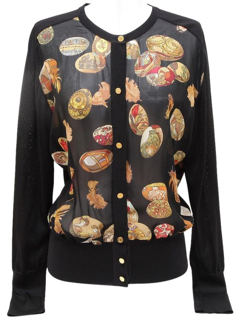 Preload https://item4.tradesy.com/images/hermes-multi-color-silk-scarf-knit-sweater-gold-buttons-long-sleeve-44-cardigan-size-10-m-20819518-0-2.jpg?width=400&height=650