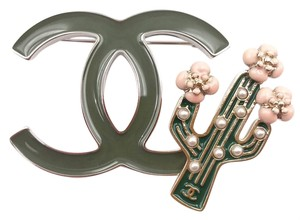Chanel Chanel Brand New 17 Army Green CC Cactus Brooch / Pin