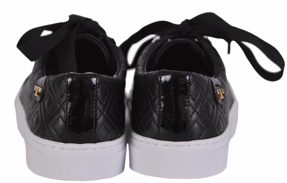 683166c5f Tory Burch Black Marion T New Women s Quilted Leather Logo Sneakers ...