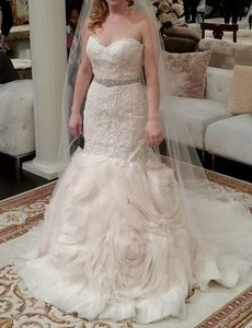 Maggie Sottero Ivory/ L. Gold Lace Organza Paulina Formal Wedding Dress Size 12 (L)