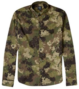 MCQ by Alexander McQueen Floral Camouflage Unisex Camo Button Down Shirt Green