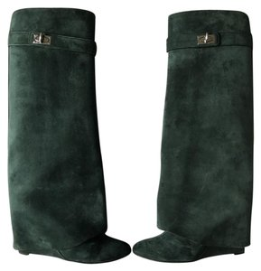 Givenchy Suede Wedge Shark Leather Green Forest Green Boots