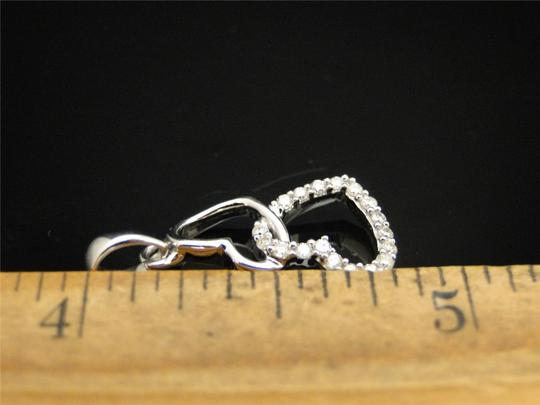 Other 10K White Gold Round Diamond Love Double Heart Pendant Charm .15 Ct
