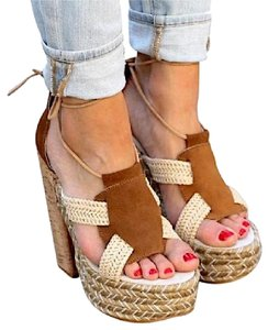 Free People Lace Up Platform Gladiator Suede Fp Beige Sandals