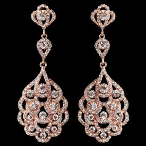 Elegance By Carbonneau Rose Gold Rhinestone Chandelier Earrings