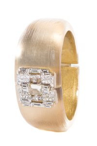 Alexis Bittar Clear Lucite Hinged Cuff With Rhinestone Detail