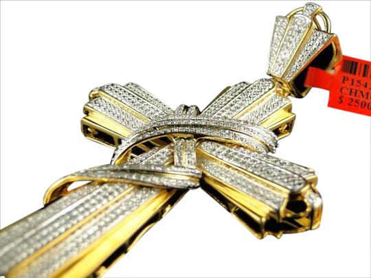Other MENS YELLOW GOLD FINISH XL 3.25 INCH DIAMOND CROSS PENDANT 1.0 CT