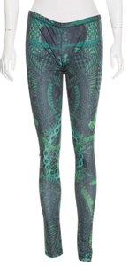 Alexander McQueen Snakeskin Elastic Skull Animal Print Monogram Grey, Green Leggings