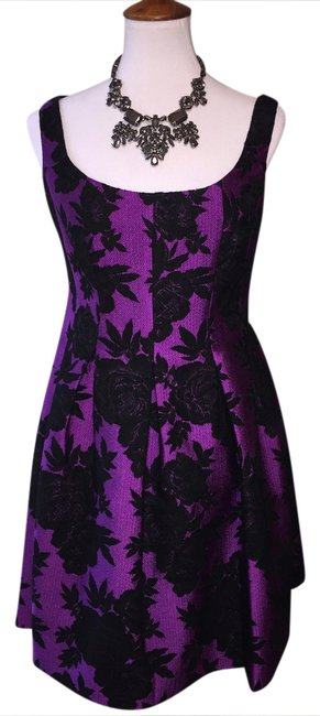 Preload https://img-static.tradesy.com/item/20819881/jill-jill-stuart-black-purple-firm-free-shipping-nwot-and-magenta-felt-flowers-short-cocktail-dress-0-5-650-650.jpg