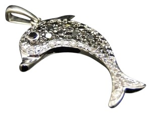 Other 10K White Gold Diamond Dolphin Fish Pendant Charm .15 Ct