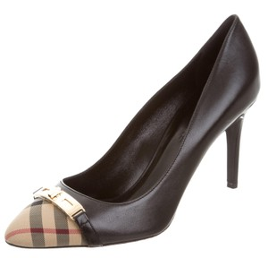 Burberry Plaid Nova Check Round Toe Monogram Gold Hardware Black, Beige Pumps