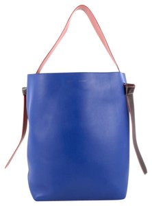 Céline Leather Tote in Blue and Green