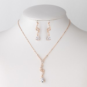 Elegance by Carbonneau Rose Gold Clear Cz Pendant Jewelry Set