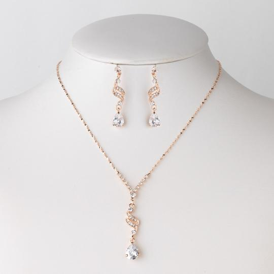 Preload https://item1.tradesy.com/images/elegance-by-carbonneau-rose-gold-clear-cz-pendant-jewelry-set-20819960-0-4.jpg?width=440&height=440