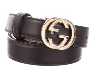 Gucci Black leather Gucci gold-tone G logo buckle waist belt M
