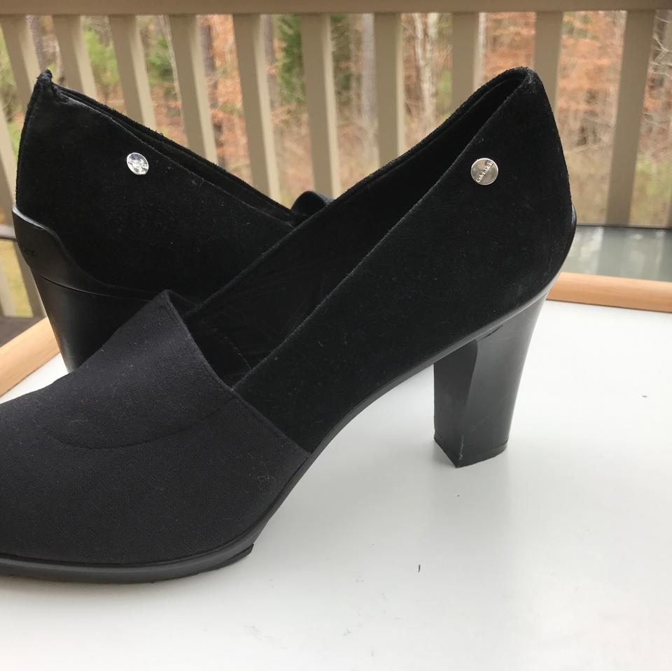 59dd790e4eb Calvin Klein Black Suede Leather with Joining Fabric Pumps Size US 9  Regular (M