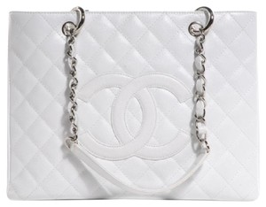 Chanel Leather Caviar Gst Vintage Tote in White