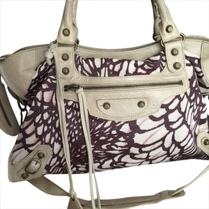 Balenciaga Satchel in Beige with purple flower print