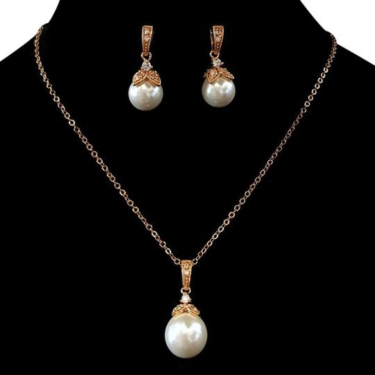 Preload https://item5.tradesy.com/images/elegance-by-carbonneau-rose-gold-light-ivory-pearl-cz-pendant-jewelry-set-20820279-0-6.jpg?width=440&height=440