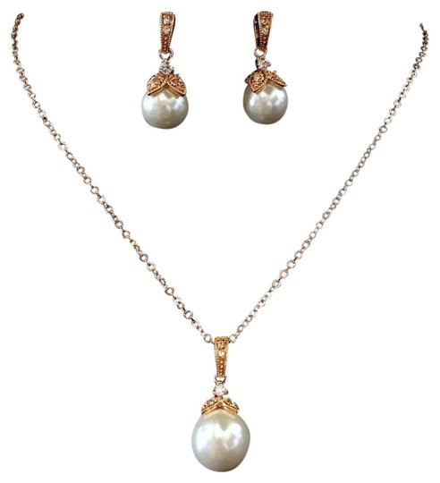 Elegance by Carbonneau Rose Gold Light Ivory Pearl Cz Pendant Jewelry Set