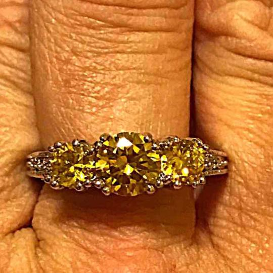 Other Stamped 10KT WGP yellow topaz 3-Stone ring